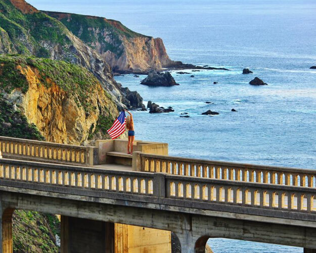 big sur bixby bridge california american flag