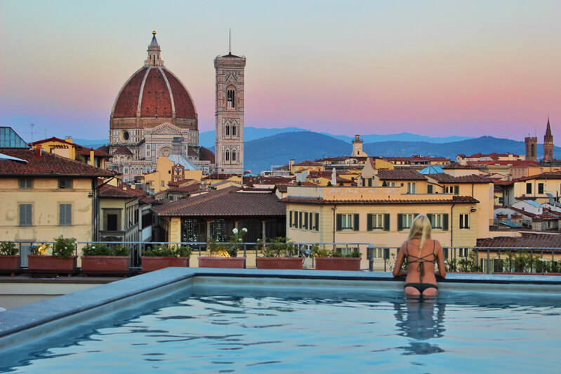 Duomo Italy - view from the Grand Minerva Hotel pool