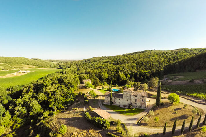 coordinates italy yoga retreat villa drone shot of property