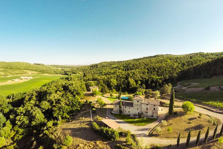 coordinates italy yoga retreat villa drone shot of property
