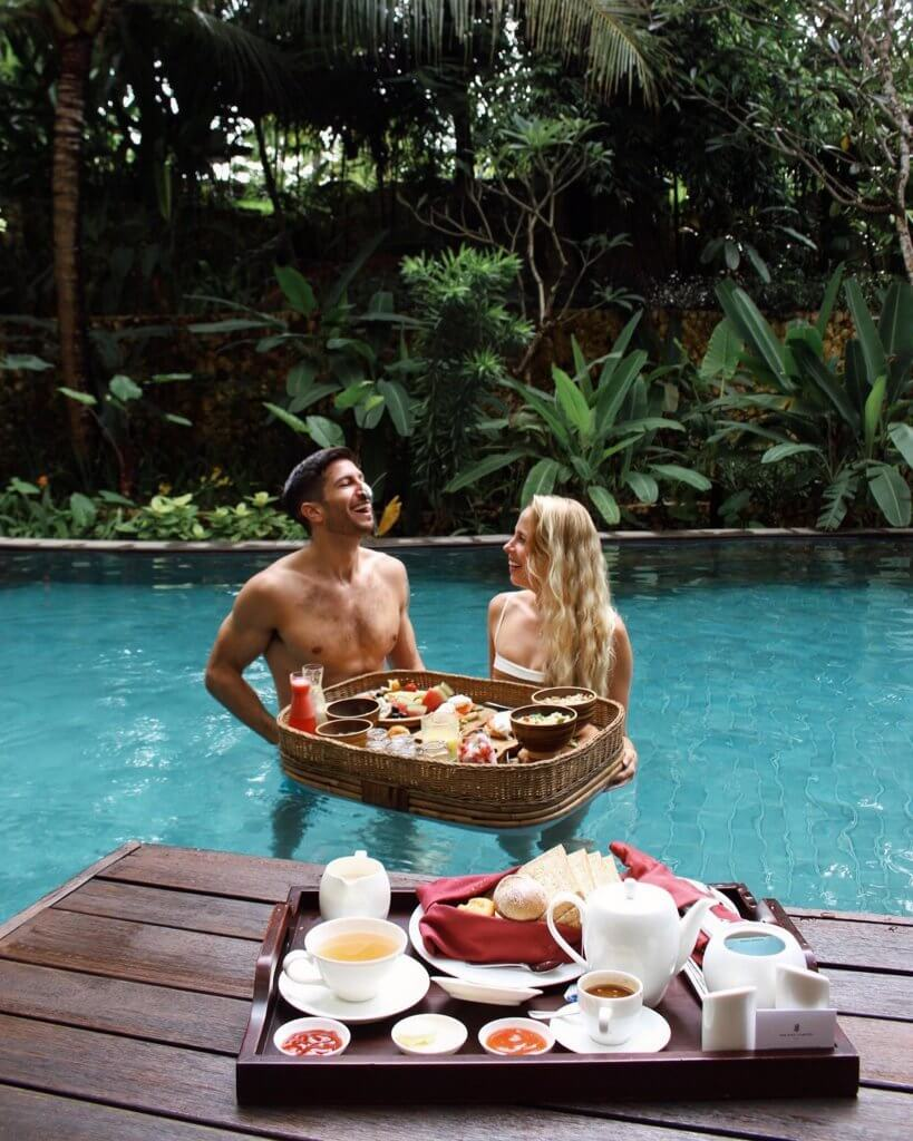 Couple's Coordinates staying at The Ritz-Carlton Bali Nusa Dua floating breakfast pastries