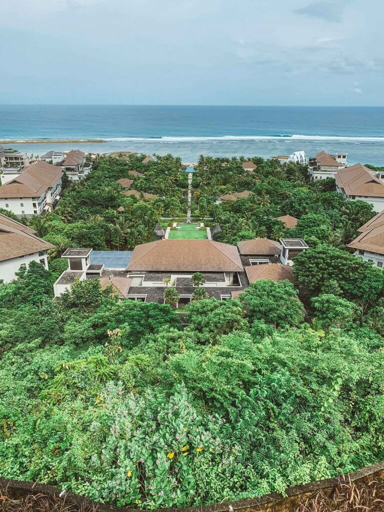 couples coordinates ritz carlton bali nusa dua view over resort