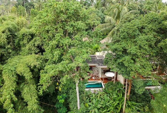 couples coordinates dji drone shot of four seasons sayan villa with private pool
