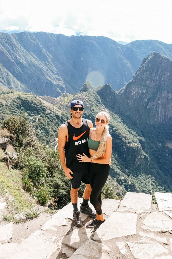 couples coordinates hiking to the sun gate machu picchu peru michael