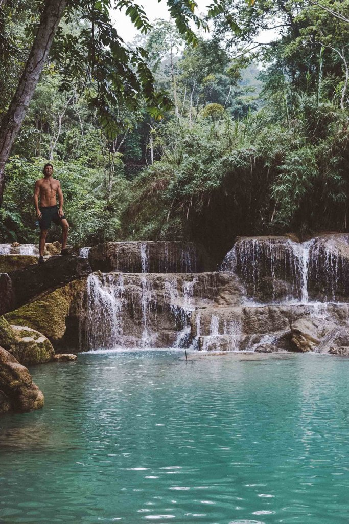 couples coordinates michael diving at kuang si falls laos