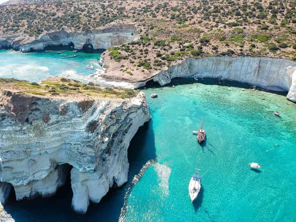 couples coordinates most beautiful milos beaches kleftiko drone shot