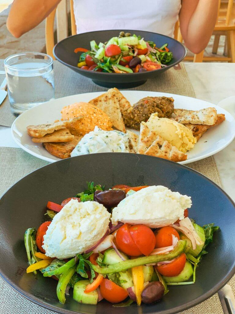 greek salad and mezze plate from psaravolada milos greece