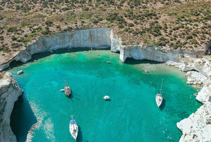 couples coordinates less traveled islands dji spark drone shot from kleftiko milos greece