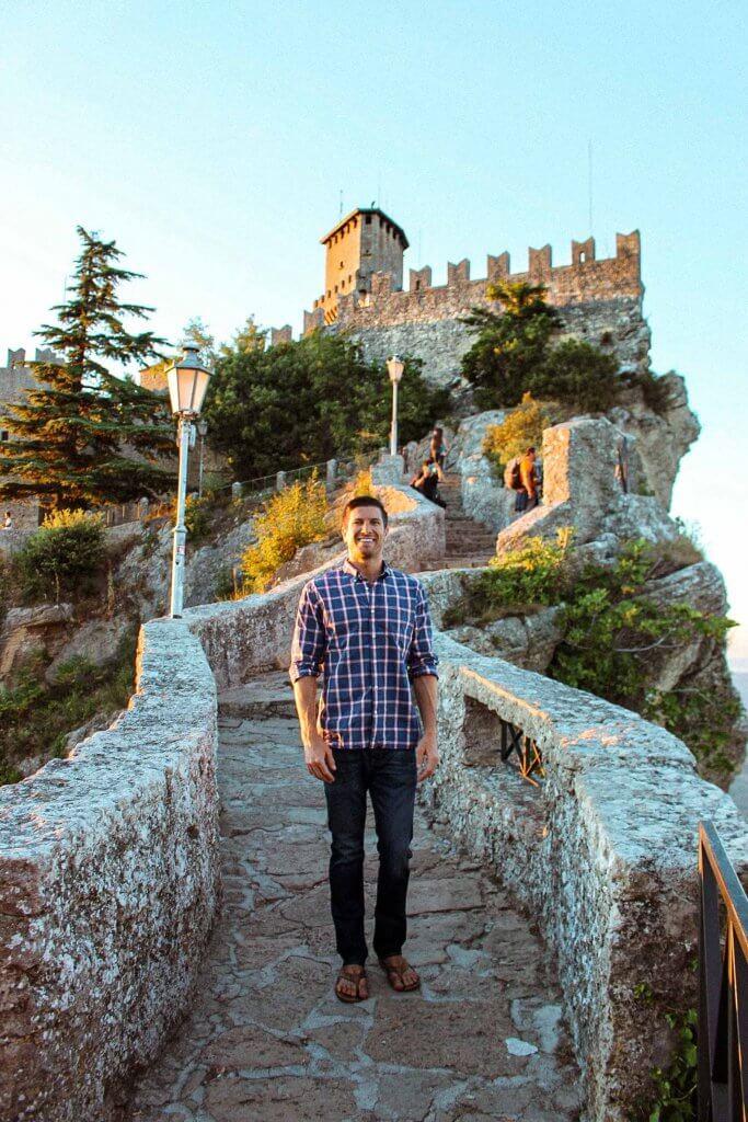 michael at castello della guaita san marino on mount titano overlooking rimini italy and the adriatic sea