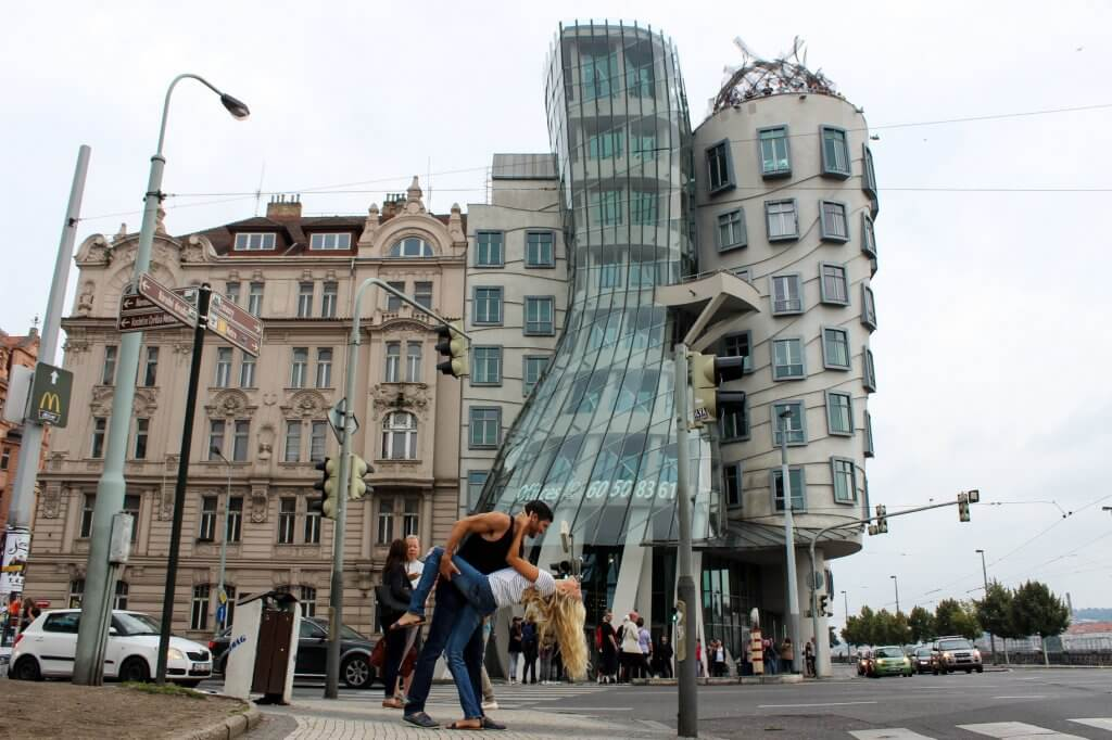 couples coordinates most walkable cities prague czechia czech republic dancing at the dancing house