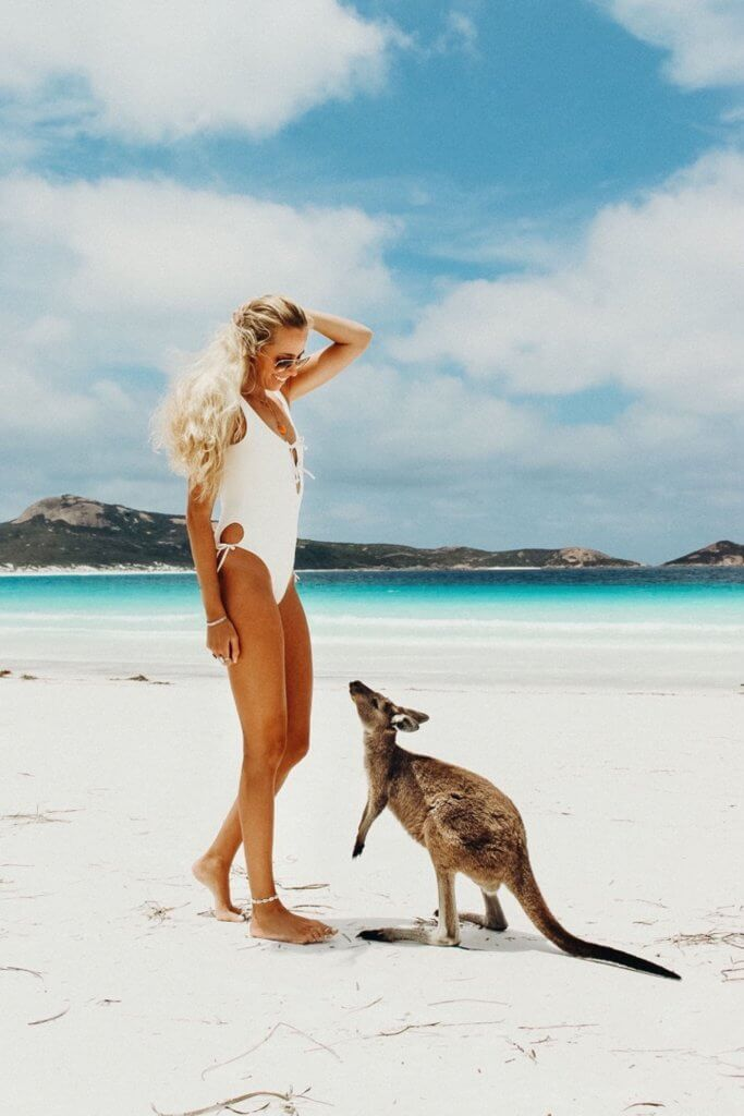 couples coordinates esperance western australia alex at lucky bay with kangaroo